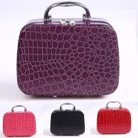 Portable Women Stone Pattern Zipper Storage Cosmetics Bag Large Capacity Handbag