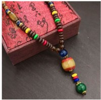Norwegian sans wood 1PC Multi Color Type 16 Retro wing wood necklace long folk style men and women mix cotton linen clothing sweater chain Fashion necklace