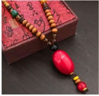 Norwegian sans wood 1PC Multi Color Type 21 Retro wing wood necklace long folk style men and women mix cotton linen clothing sweater chain Fashion necklace
