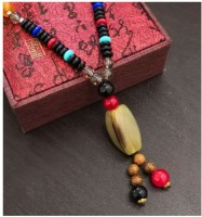Norwegian sans wood 1PC Multi Color Type 9 Retro wing wood necklace long folk style men and women mix cotton linen clothing sweater chain Fashion necklace