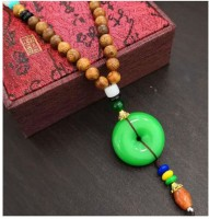 Norwegian sans wood 1PC Multi Color Type 14 Retro wing wood necklace long folk style men and women mix cotton linen clothing sweater chain Fashion necklace