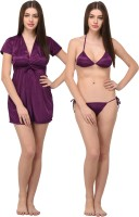 You Forever Women Robe and Lingerie Set(Purple)