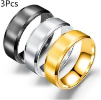 3Pcs Stainless Steel Glossy Matte Unisex Ring Fashion Jewellery