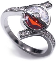 1 Pc White Creative Copper Elf Ball Red And White Ringn (Fashion Jewellery)