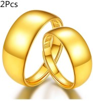 2Pcs Glossy Couple Ring Golden Color Adjustable Fashion Jewellery