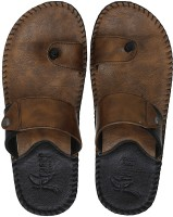 Kraasa Men Synthetic Leather Chappal (Camel) Flip Flops