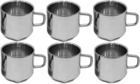RISHI METAL Stainless Steel Cup Mug for Tea & Coffee (6 Corner) - Set of 6 - 80ml Stainless Steel(Steel)