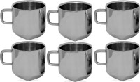RISHI METAL Stainless Steel Cup Mug for Tea & Coffee (4 Corner) - Set of 6 - 80ml Stainless Steel(Steel, Pack of 6)