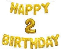 Almoda Creations Solid Golden Happy Birhtday Banner with 2 Number & Ribbon Letter Balloon(Gold, Pack of 14)