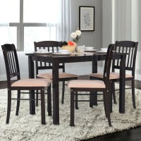 RoyalOak Glady Solid Wood 4 Seater Dining Set(Finish Color - Dark Brown)