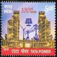 Sams Shopping 100 Years of Tata Power Power, Industry, Development, Power Grid, Wind Mill, Solar Panel Rs. 5 Stamps(1 Stamps)