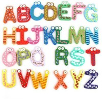 26 Alphabet Magnetic Letters A-Z Wooden Fridge Magnets Baby Kid Education Toys