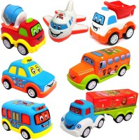 Learn With Fun Unbreakable Pull Back Texi Car Truck Bus Plane Toy for Boys girls Kids(Multicolor, Pack of: 7)