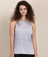 REEBOK Casual Sleeveless Self Design Women Blue Top