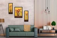 SheShagun Digital wall Canvas picture frame set of 3 pieces(Black)