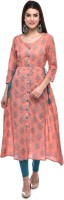 GLAM ROOTS Women Printed A-line Kurta(Pink)