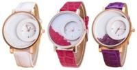 MxRe K-00138 White Pink Purple Wrangler Diamonds Analog Watch - For Women