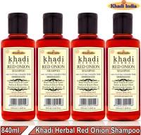 Khadi Herbal Red Onion Shampoo/Hair Cleanser Promote Hair-Regrowth Prevent Hair Fall (Pack Of-4)(840 ml)