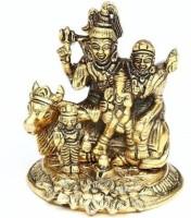 WELLWISHERS CRAFT Metal Shiv Parivar / Shiv Parvati With Ganesh Kartik and Nandi Decorative Showpiece  -  10 cm(Metal, Gold)