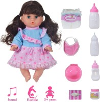 Wishkey Doll with Feeding Bottles , Potty Training Pretend Play Toy Accessories Set and Music For Kids(Multicolor)