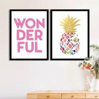 Painting Mantra Set of 2 Pink Wonderful Pineapple Matte Art Print Digital Reprint 17.5 inch x 13.5 inch Painting