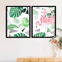 Painting Mantra Set of 2 tropical Flamingo Matte Art Print Digital Reprint 17.5 inch x 13.5 inch Painting