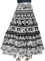 MODERN KART Animal Print Women Wrap Around Black Skirt