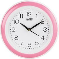 Kadio Analog 22 cm X 22 cm Wall Clock(Pink, With Glass)