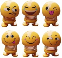 Janvi Creation Emotion Funny Smiley Face Springs Car Decoration Pack of 6 (Yellow)