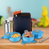 Food Grade Plastic Lunch Box Set KindJoy Series 3 Containers (400ml Each), 700ml Steel Bottle with Bag Air Tight lid Leakage Proof Tiffin Box Office School Travel Lunch Picnic Lunch Box