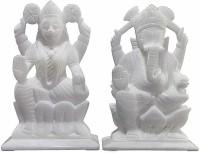 salvusappsolutions Ganesh Laxmi Idol - Handcrafted Indian Marble Pooja Puja Ganesh Ganpati Ganesha Laxmi Lakshmi Idol, Statue, Murti Decorative Showpiece  -  12 cm(Marble, White)
