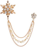 Mahi Men's Eye Catching Stone Studded Snow Flake with Three Chain Pin Brooch Brooch(Gold)