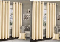 La Roze Home Furnishings 335.28 cm (11 ft) Polyester Long Door Curtain (Pack Of 4)(Plain, Beige)
