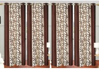 La Roze Home Furnishings 396.24 cm (13 ft) Polyester Long Door Curtain (Pack Of 4)(Printed, Brown)