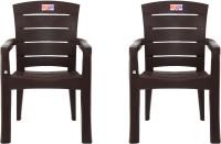 AVRO furniture 9955 MATT CHAIR (Set Of 2 Chairs) Plastic Outdoor Chair(Brown, Set of 2)