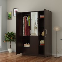 Flipkart Perfect Homes Julian Engineered Wood 3 Door Wardrobe(Finish Color - Espresso, Mirror Included)