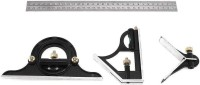 """Homdum Stainless Steel Multi-function Combination Ruler Precision Try Square Angle Finder Protractor Measuring Tool Set with 12"""" inch Blade