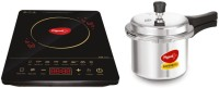 Pigeon Acer Plus Induction Cooktop with IB 3 Ltr Pressure Cooker 2020 Combo(Black, Touch Panel)