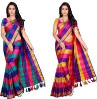 Shaibo saree Checkered Fashion Cotton Silk Saree(Pack of 2, Multicolor)