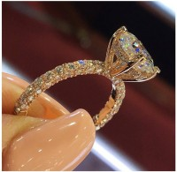 Norwegian sans wood 1PC Rose Gold Number 10 Flash diamond round princess ornament Rings Fashion Jewellery