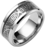 Norwegian sans wood 1PC Silver piece of silver Color 6 Religious style Christian Jesus letter titanium steel ring finger ornament Fashion jewelry