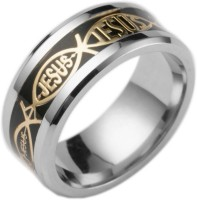 Norwegian sans wood 1PC A black piece of gold Color 12 Religious style Christian Jesus letter titanium steel ring finger ornament Fashion jewelry