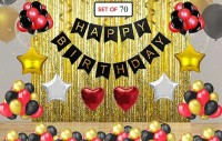 AR Giftzadda Solid Happy Birthday Decoration Combo Happy Birthday Banner - Gold Foiled Fringe Curtain - Foil Balloons - Latex Balloons Birthday Party Decoration Photo Props Balloon(Multicolor, Pack of 70)
