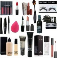 dndeals combo - kit set of 19 red edition makeup kit foundation cocealer makeup fixer spray matte lipstick(19 Items in the set)