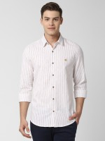 Peter England University Men Striped Casual White Shirt