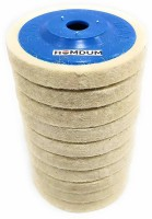 Homdum MAF Wool Felt buffing pad wheel disc for polishing stainless steel metal marble glass ceramic, 4 inch angle grinder abrasive rotary tool accessory - white, 100 x 16mm x 16mm dia (Pack of 10) Buffing Pad Metal Polisher(4 inch)