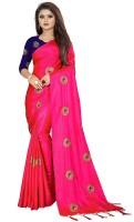 Vrundavan Ethics Embroidered Fashion Poly Silk Saree(Pink)