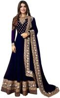 Urchit Enterprise Embroidered Dark Blue Anarkali Kurta, Bottom & Dupatta Set (Pack Of )