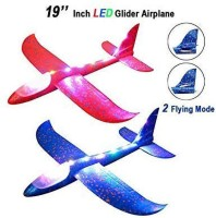 Sage Square Hand Throwing LED Foam Plane, Dual Flight Mode, Aeroplane Gliders, Flying Aircraft, Gifts for Kids, Outdoor Sport Game Toys, Birthday Party Gifts (Pack of 2) Frisbie & Boomerang