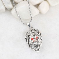 SILVERSHINE SilverPlated Attractive Chain With Lion Design Silver pendant With Diamond For Man Boy